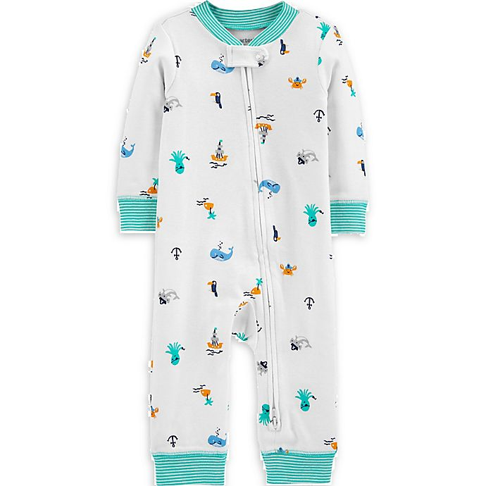 Alternate image 1 for carter's® Beach 2-Way Zip Sleep and Play Pajama in White/Teal