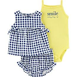 carter's® 3-Piece Gingham Smile Bodysuit, Dress, and Short Set