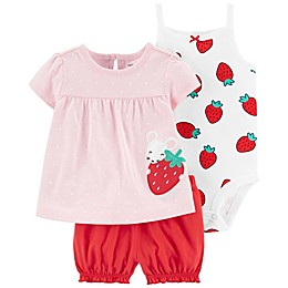 carter's® 3-Piece Strawberry Dress, Bodysuit, and Short Set in Pink