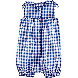 carter's® Floral Gingham Bubble Romper in Blue