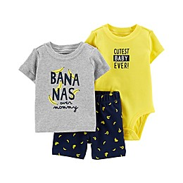 carter's® 3-Piece Banana Bodysuit, Shirt and Short Set in Grey