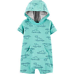 carter's® Hooded Hippo Romper in Turquoise