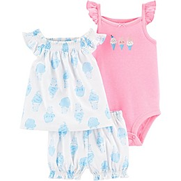 carter's® 3-Piece Ice Cream Top, Bodysuit and Short Set in Ivory