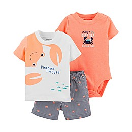 carter's® 3-Piece Crab Bodysuit, Shirt and Short Set in White