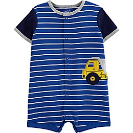 carter's® Striped Construction Snap-Up Romper in Blue