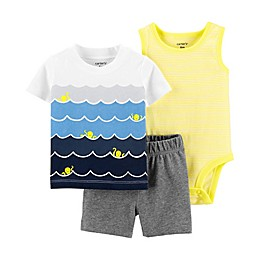 carter's® 3-Piece Waves Bodysuit, Shirt and Short Set in White
