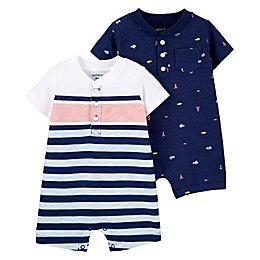carter's® 2-Pack Nautical Rompers in Blue