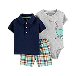 carter's® 3-Piece Dino Polo Shirt, Bodysuit, and Short Set in Navy