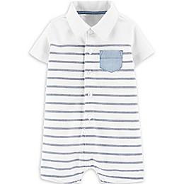 carter's® Stripe Polo Romper in White