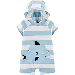carter's® Striped Shark Jersey Romper in Blue