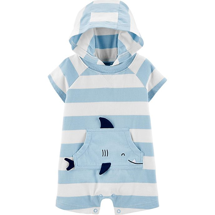 Alternate image 1 for carter's® Striped Shark Jersey Romper in Blue