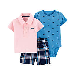 carter's® 3-Piece Polo Shirt, Bodysuit and Short Set in Pink