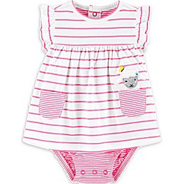carter's® Striped Sheep Jersey Sunsuit in Pink
