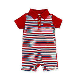 Burt's Bees Baby® Graduated Stripe Organic Cotton Polo Romper in Red
