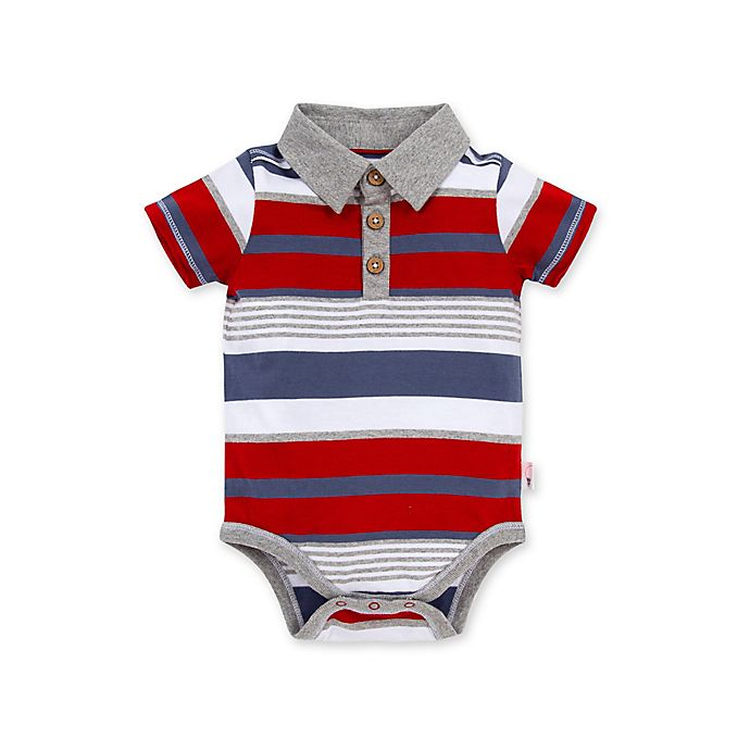 Alternate image 1 for Burt's Bees Baby® Striped Organic Cotton Polo in Red/Blue
