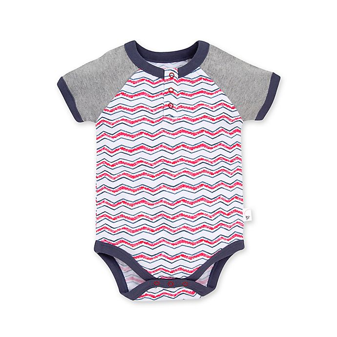 Alternate image 1 for Burt's Bees Baby® Staggered Chevron Organic Cotton Henley Bodysuit in Red/White
