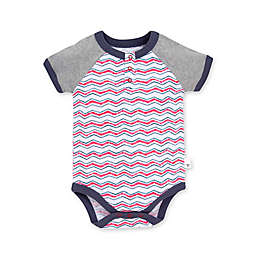 Burt's Bees Baby® Staggered Chevron Organic Cotton Henley Bodysuit in Red/White