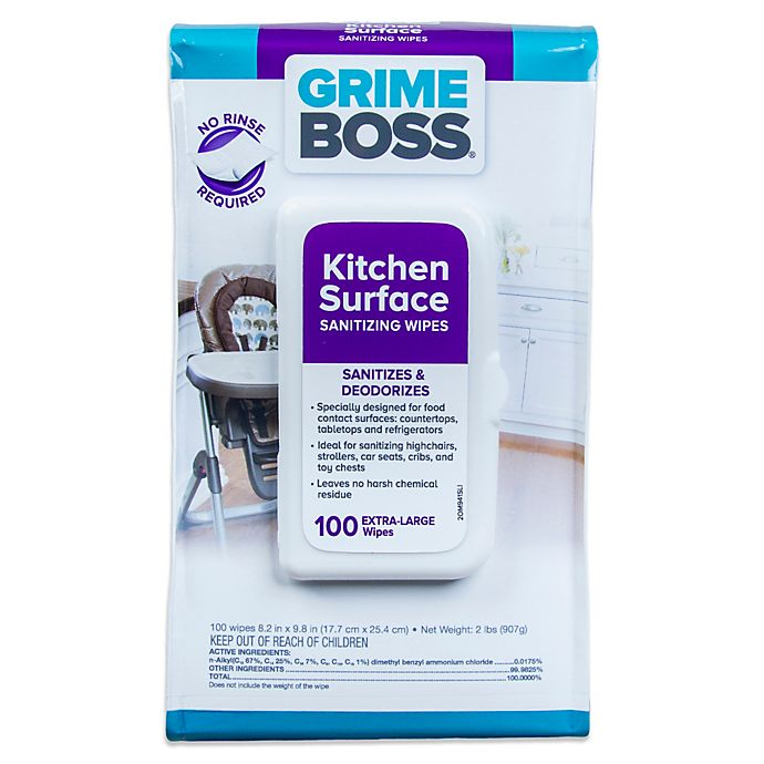 Alternate image 1 for Grime Boss 100-Count Kitchen Surface Sanitizing Wipes