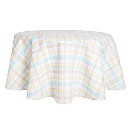 Spring Medley Plaid Round Tablecloth