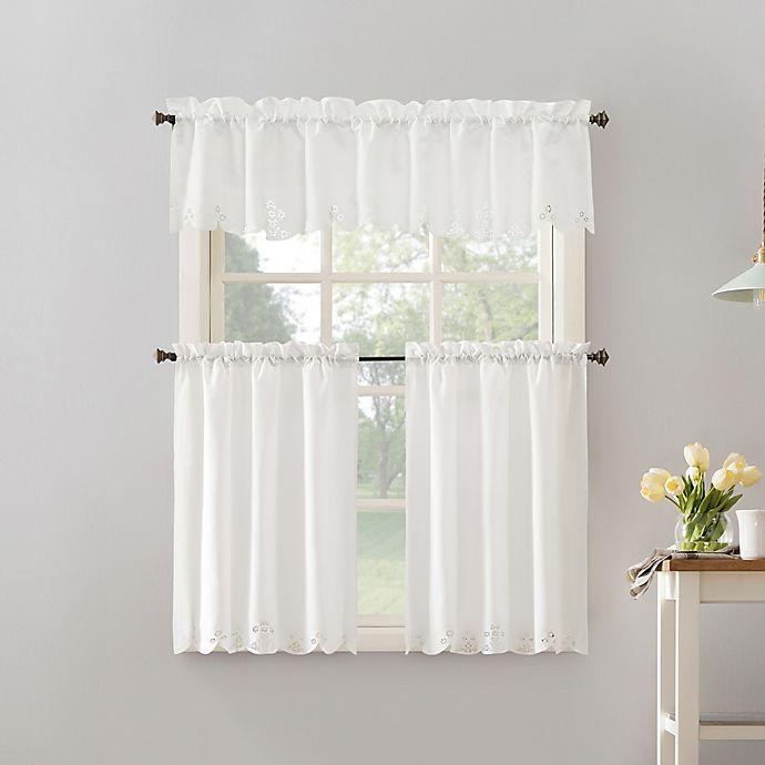 Alternate image 1 for No.918® Mariela Floral Trim Semi-Sheer Rod Pocket kitchen Curtain Valance and Tier 3-Piece Set