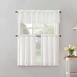 No.918® Mariela Floral Trim Semi-Sheer Rod Pocket kitchen Curtain Valance and Tier 3-Piece Set