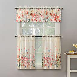 No.918® Rosalind Floral Watercolor Semi-Sheer Rod Pocket Curtain Tier and Valance Set