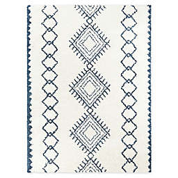 Katarina 5'3 x 7' Woven Area Rug in White/Blue