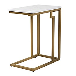 Baxton Studio Glanville End Table with Faux Marble Tabletop in White/Gold