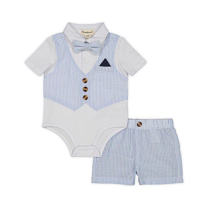 Alternate image 1 for Beetle & Thread® 3-Piece Vest Bodysuit, Bowtie and Short Set