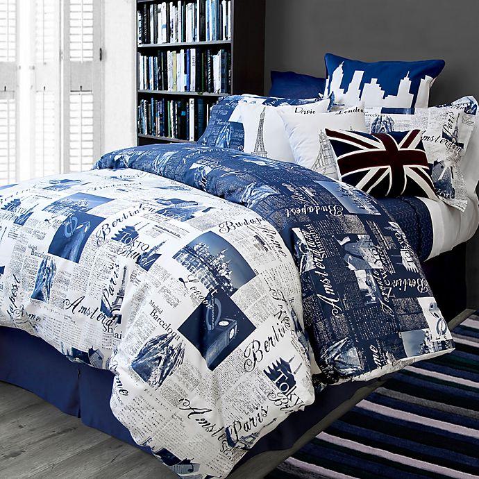 Bedlam Passport Reversible Duvet Cover Set In Blue Bed