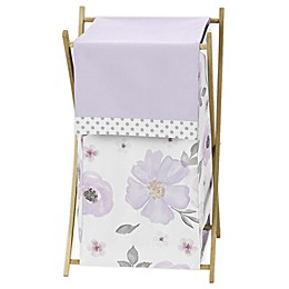 Sweet Jojo Designs Watercolor Floral Laundry Hamper in Lavender/Grey