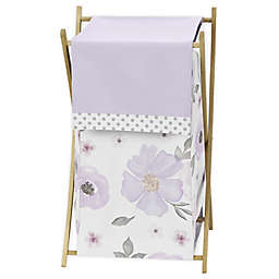 Sweet Jojo Designs Watercolor Floral Laundry Hamper in Lavender/Grey