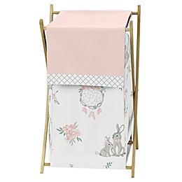 Sweet Jojo Designs Bunny Floral Laundry Hamper in Pink/Grey