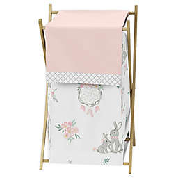 Sweet Jojo Designs Bunny Floral Laundry Hamper in Pink/Grey