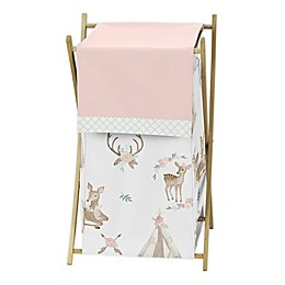 Sweet Jojo Designs® Deer Floral Laundry Hamper in Pink/Mint