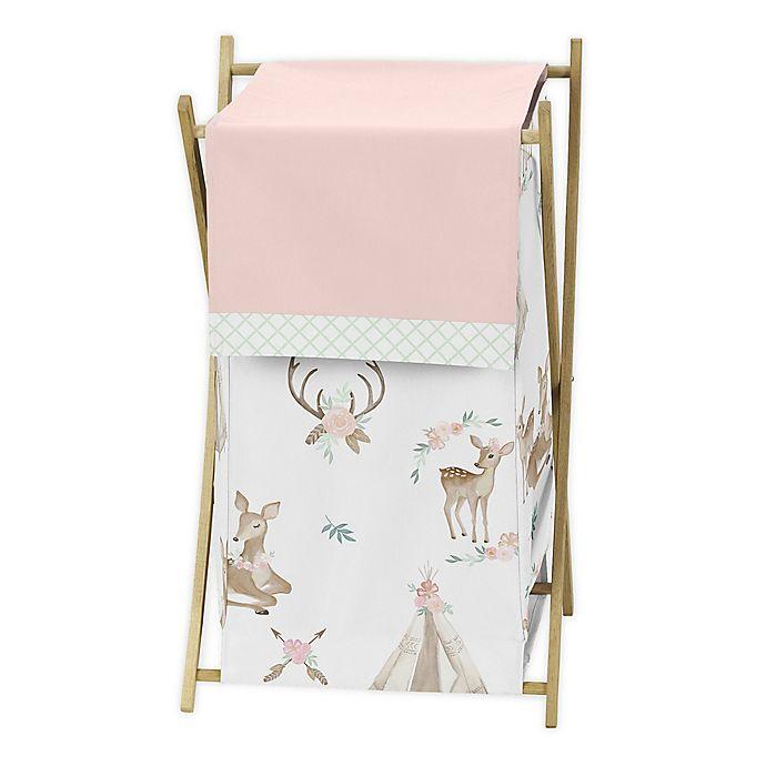 Alternate image 1 for Sweet Jojo Designs® Deer Floral Laundry Hamper in Pink/Mint