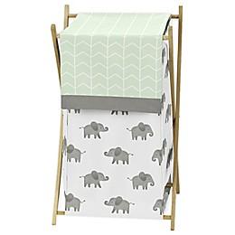 Sweet Jojo Designs Elephant Laundry Hamper in Mint/Grey