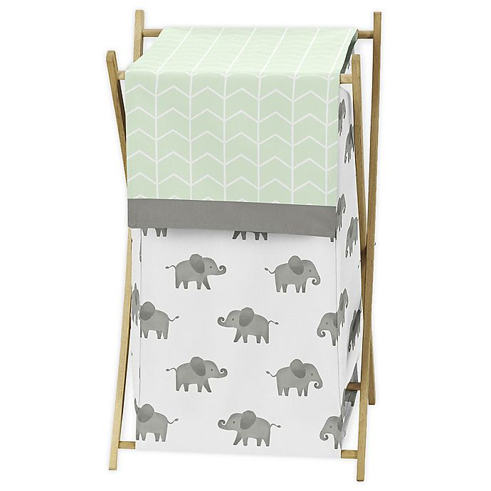 Alternate image 1 for Sweet Jojo Designs Elephant Laundry Hamper in Mint/Grey