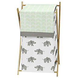 Sweet Jojo Designs Elephant Laundry Hamper in Mint/Grey