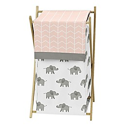 Sweet Jojo Designs Elephant Laundry Hamper in Pink/Grey