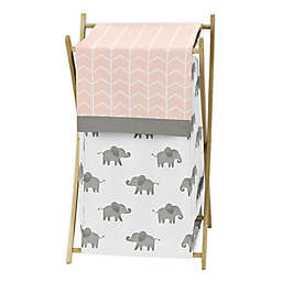 Sweet Jojo Designs® Elephant Laundry Hamper in Grey/Blush Pink