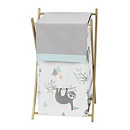 Sweet Jojo Designs Sloth Laundry Hamper in Aqua/Grey