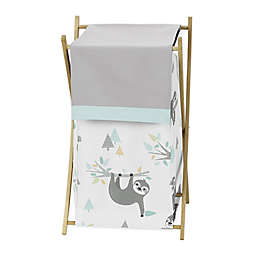 Sweet Jojo Designs Sloth Laundry Hamper in Aqua/Grey
