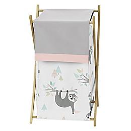 Sweet Jojo Designs Sloth Laundry Hamper in Pink/Grey