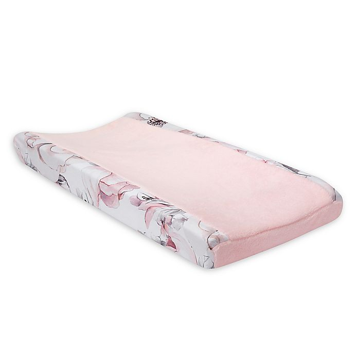 Alternate image 1 for Lambs & Ivy® Botanical Baby Floral Changing Pad Cover in Pink/Grey