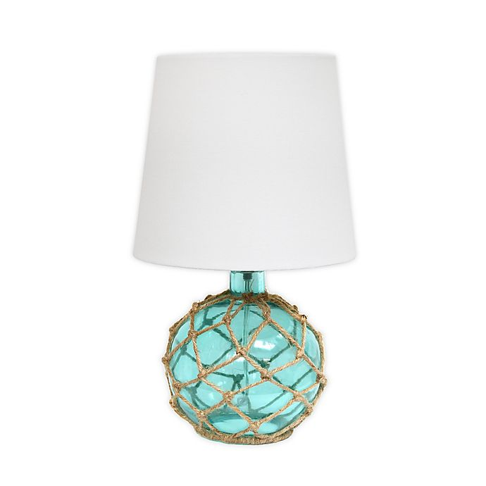 Alternate image 1 for Elegant Designs Buoy Netted Aqua Glass Table Lamp with Fabric Lampshade