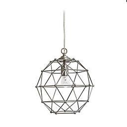 Elegant Designs Hexagon Pendant Light in Brushed Nickel