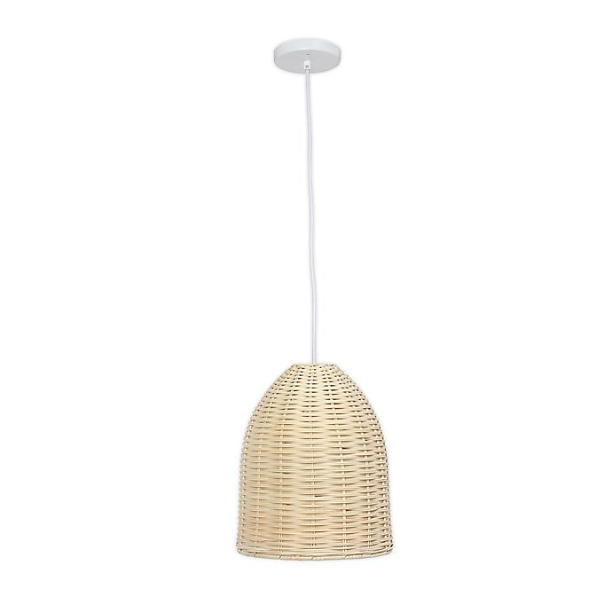 Alternate image 1 for Elegant Designs Coastal Dome Rattan Downlight Pendant Light in Natural