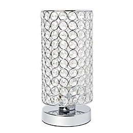 Elegant Designs Elipse Crystal Cylindrical Table Lamp in Chrome