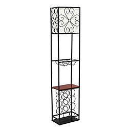 Elegant Designs Etagere Wood Accented Wine Rack Floor Lamp in Black
